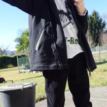 Pantalon en velours noir Chameleon, Ottobre 6/2015... Avec passepoil à losange blanc et noir ;-)