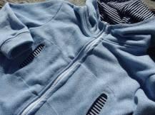 Veste à capuche zippée Block Stripes Ottobre 1/2015 en sweat bouclette effet jean...